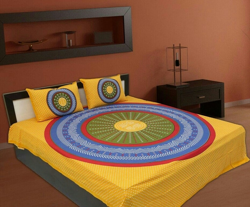 Jaipur mandala printed bedsheet full king size 90x108 inches with 2 pillow cover