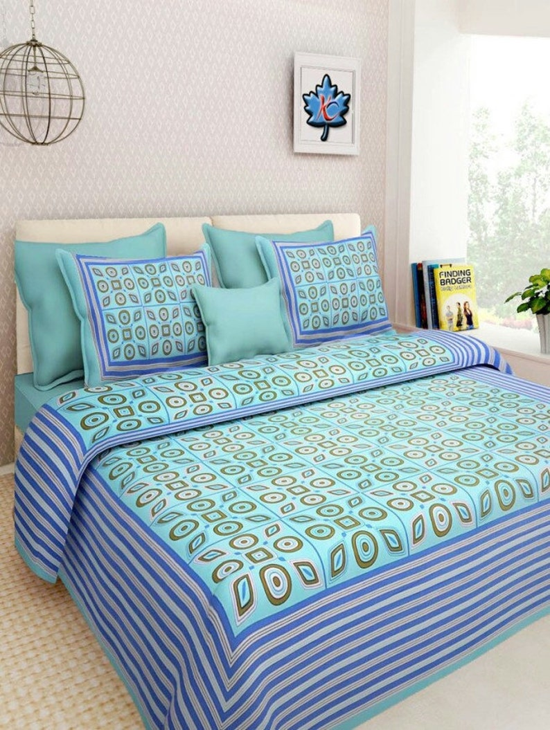 Jaipur traditional Printed Bed sheet full king size 220x270 cm.with 2 pillow cover