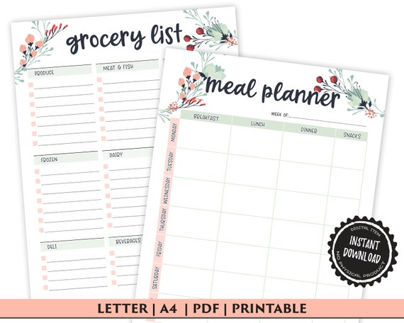 Weekly Meal Planner Printable with Grocery List Printable