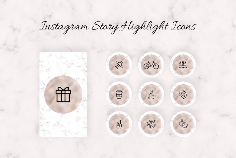 Instagram Story Highlight Icons, Instagram Story Highlight, Instagram Story  Covers, Rose Gold Marble Instagram Highlights Icons