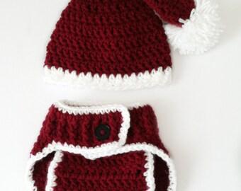 Crochet Santa hat and diaper cover set 34bf8e943f5d