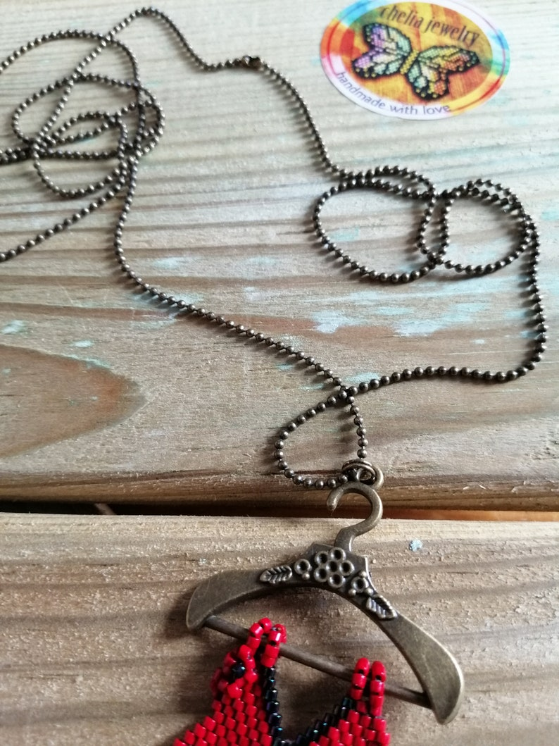 Handmade pendant to Chain-handembroidered pendant dress-dress pendant to beads necklace-Chelia Jewelry-long necklace