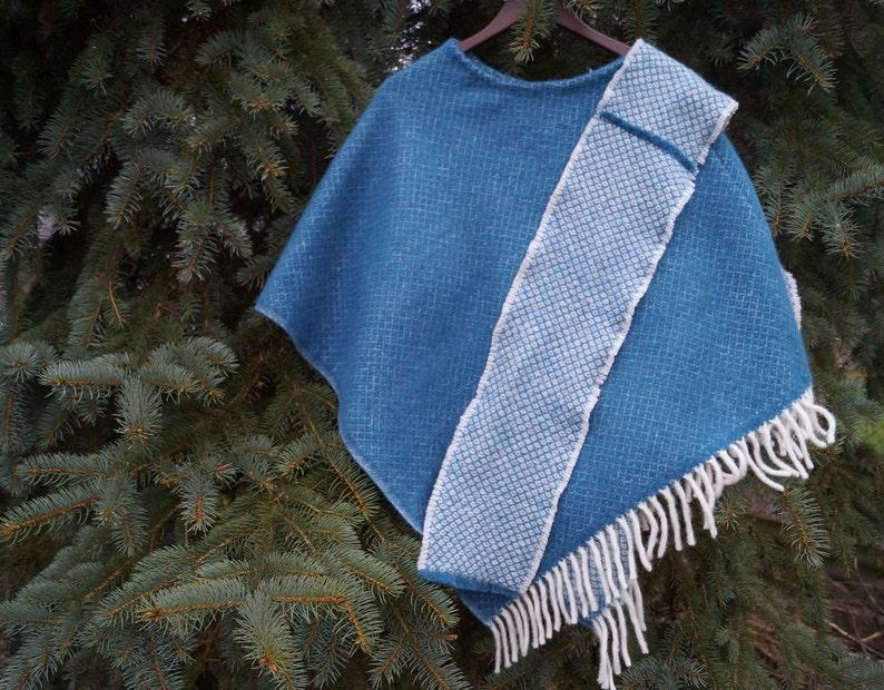 Blue sheep wool poncho Wool poncho with scarf Blue poncho with scarf Warm sheep wool cloak Blue warm wool poncho  Warm poncho with scarf