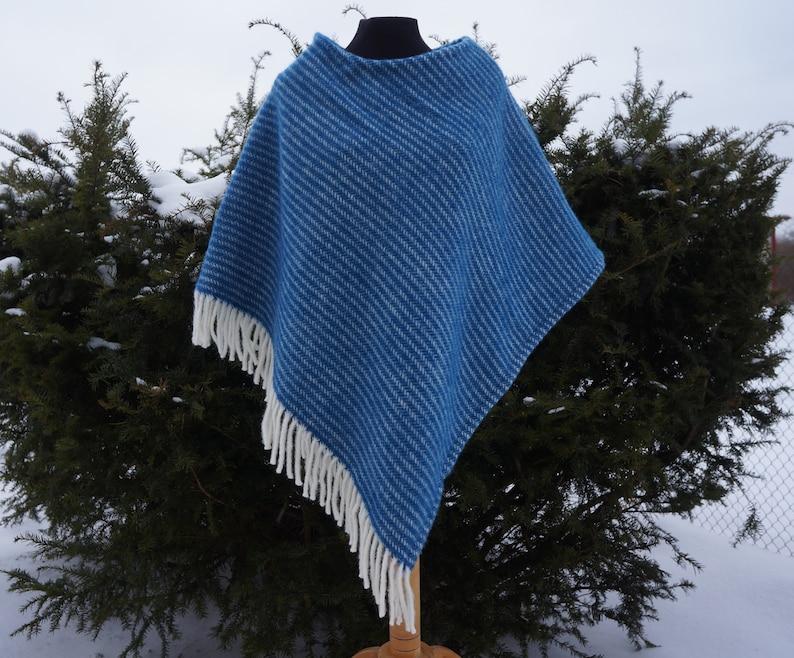 Medium sized striped blue wool poncho Medium sized blue striped lambswool cloak Blue striped cloak Striped medium sized blue lambswool cape