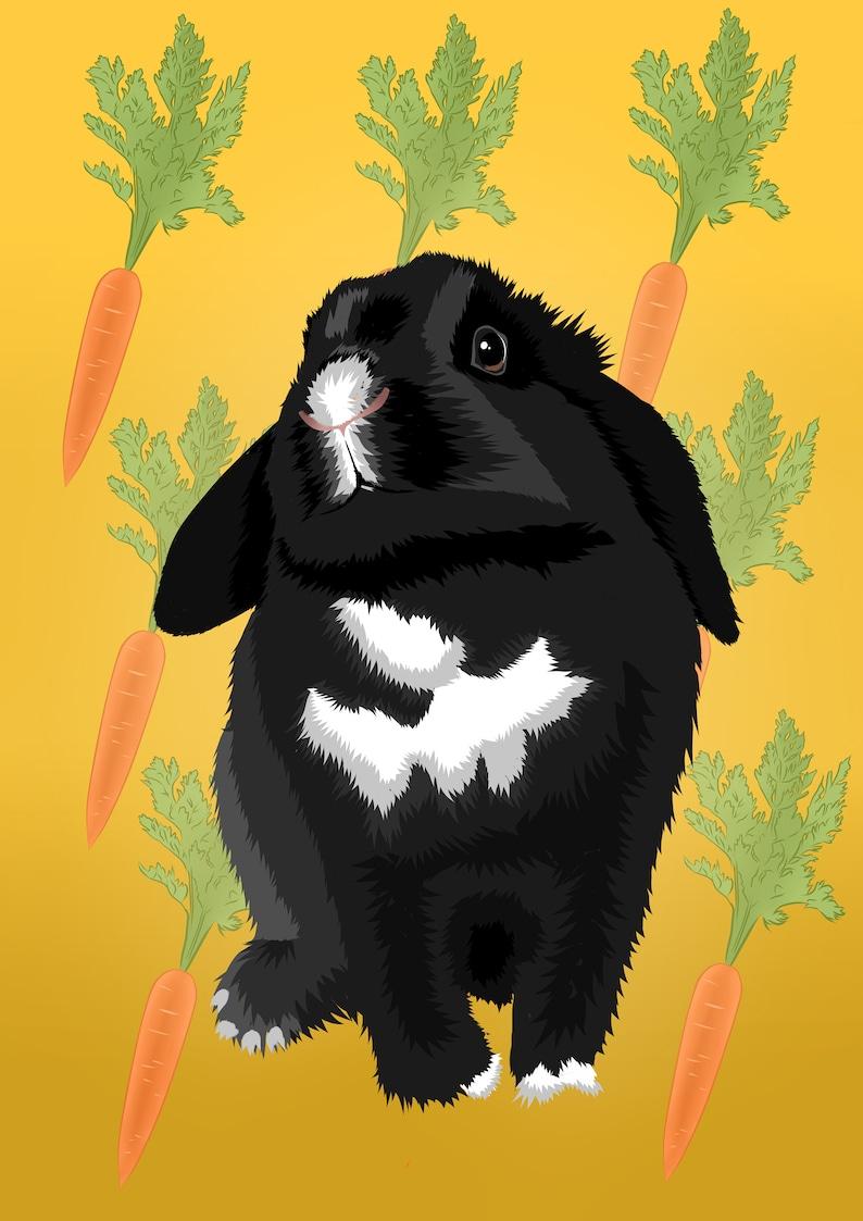 Custom rabbit portrait wall art painting digital pet illustration cartoon commission bunny drawing from photo