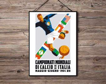 ITALY 1934 - Vintage World Cup Football Poster Print - Satin Paper - A4 A3  A2 - Home Wall Decor d2a47ef98