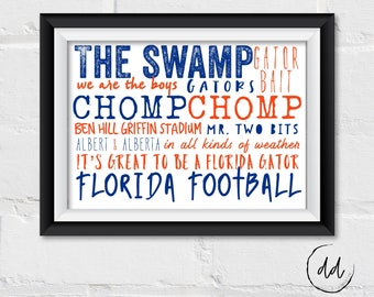 Florida Gators Gift, The Swamp, Chomp Chomp, Florida Gator Football, Mr. Two Bits, Ben Hill Griffin Stadium, We are the Boys, Christmas Gift