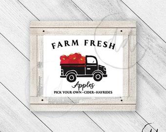 Farm Fresh Apples Orchard Print, Farmhouse Truck, Hayride, Rustic Decor, Vintage Decor, Cider, Cute Truck, Country Chic, Digital Download