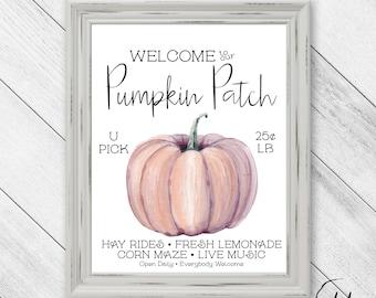Welcome to our Pumpkin Patch, Family Sign, Autumn Decor, Rustic Look, Fall Printable, Pumpkin Decor, Fall Wall Art, Autumn Art