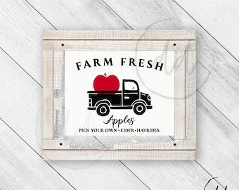Farm Fresh Apple Orchard Print, Farmhouse Truck, Hayride, Rustic Decor, Vintage Decor, Cider, Cute Truck, Country Chic, Digital Download