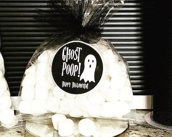 Ghost Poop Halloween Stickers, Goody Bags, Marshmallow Treat, Trick or Treat Bags, Cute Classroom Snack Bags, DIY Halloween Ideas, Printable