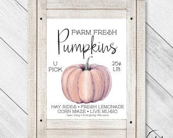 Farm Fresh Pumpkins, Autumn Decor, Pumpkin Printable, Fall Printable, Fall Decor, Pumpkin Decor, Fall Wall Art, Autumn Art