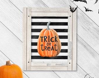 Pumpkin Trick or Treat Watercolor Sign, Printable Decoration, Halloween Decor, Rustic Farmhouse, Pumpkin Decor, Fall Wall Art, Autumn Art