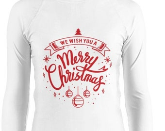 039f33ee44f Women s Rash Guard festive red inscription we wish you a merry christmas