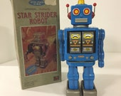 Horikawa S.H Star Strider Robot Battery Operated Tin Toy w Box Japan 1980s (U)