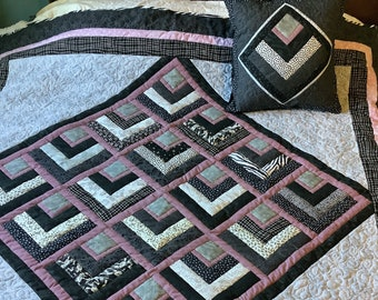 Black and white lap quilt w/ minky backing