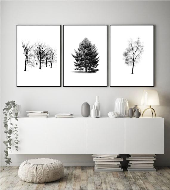 Trees Black And White Set Of Three Wall Art Printable Etsy