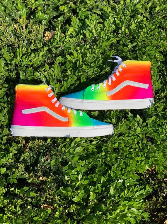 Custom Rainbow Vans | Etsy