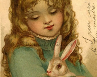 Vintage Easter, Little Girl with Bunny,Digital Download