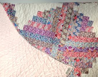 Patchwork Quilt, Beautiful Tilda Fabric Quilt / Blanket / Bedspread, Tilda Plum Garden Fabric, Large, Pink and Cream, Vintage Cottage Style