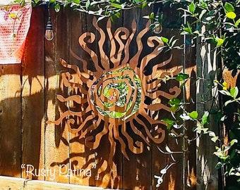 Hippie Fun Wacky Sun - THE ORIGINAL - Unique  Metal Sun - Garden Wall - Power Coat - Outdoor - Whimsical Spiral Decor - Metal Art