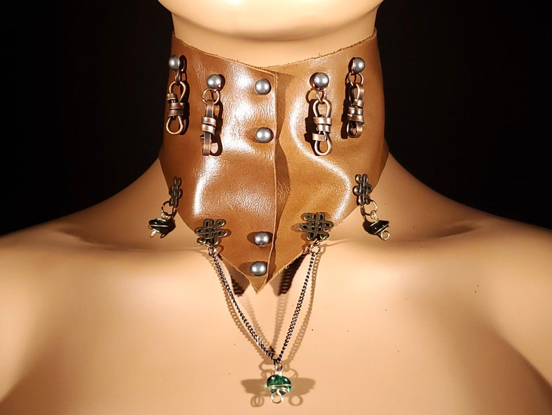 OOAK Steampunk Style Brown Leather Choker with Green Beads image 0