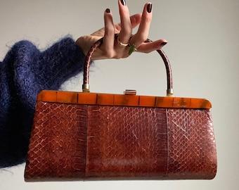 Vintage 60s Snakeskin Structured Handbag with Tiger Lucite