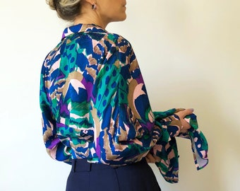 5407563f1667e1 Rare vintage OKW 80s couture batwing silk button up blouse