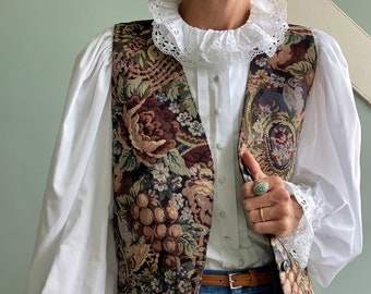 Vintage 1990s Floral Tapestry Vest, Size M/L