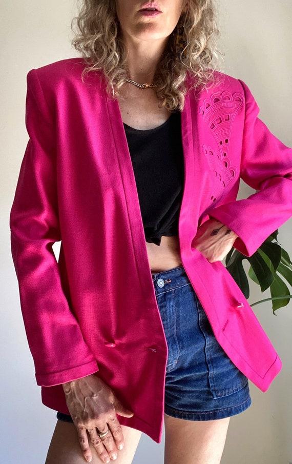 Vintage LOUIS FERAUD Blazer, 1980s Pink Power Bla… - image 2