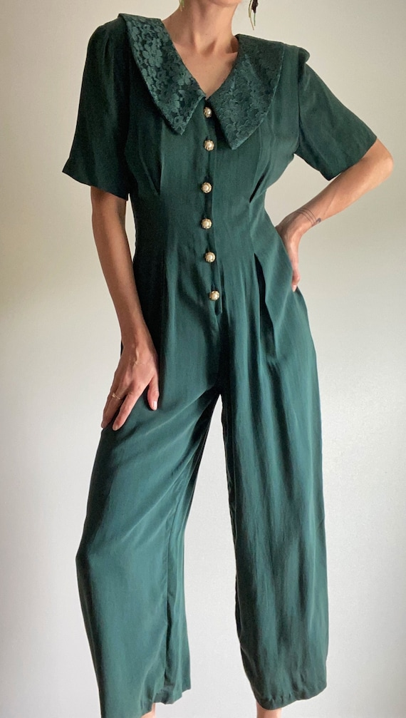 80s Jade Jumpsuit Lace with Lace Collar