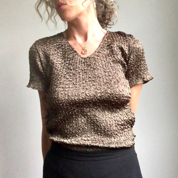Vintage 90s micropleat top, textured summer blous… - image 9