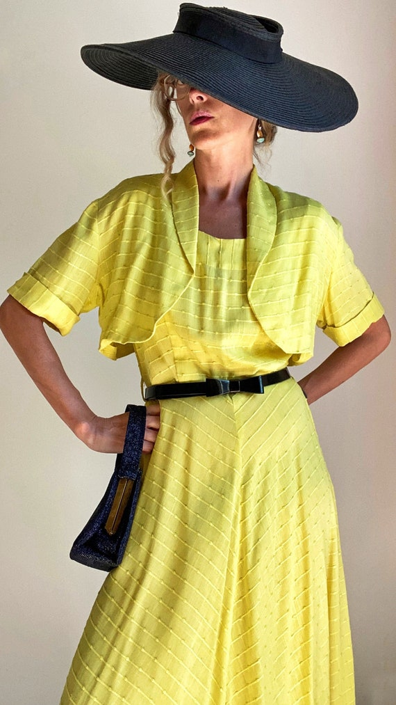 1940s 1950s Pineapple Yellow Sun Dress with Croppe