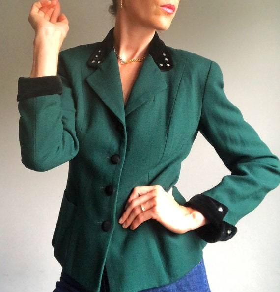 Vintage Forest Green Wool Blazer with Velvet, Made