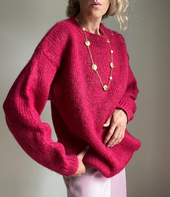 1980s Magenta Mohair Crew Neck Pullover Sweater