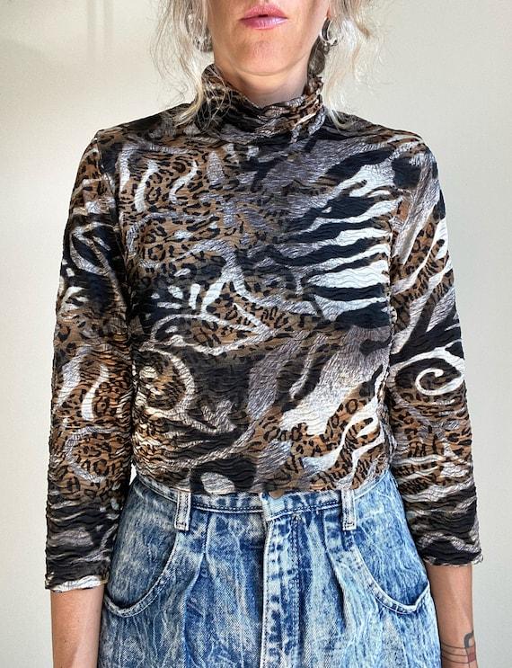 1990s Textured Zebra & Leopard Animal Print Top - image 5