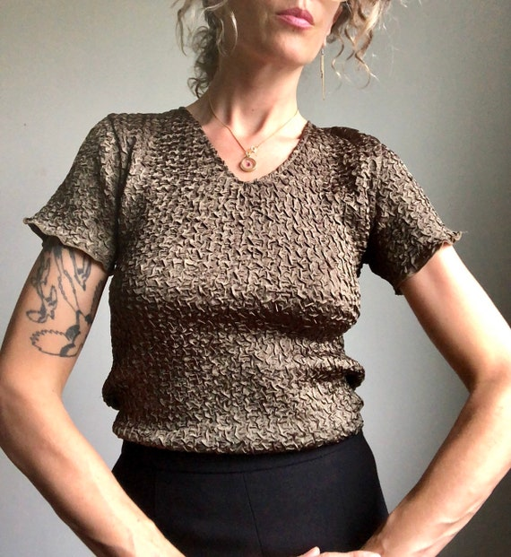 Vintage 90s micropleat top, textured summer blous… - image 4