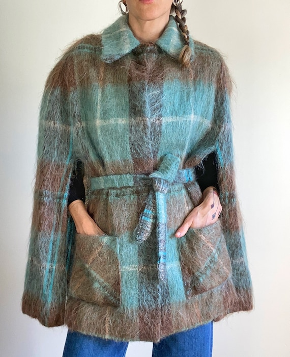 Vintage 60s Scottish Mohair Wool Tartan Cape with