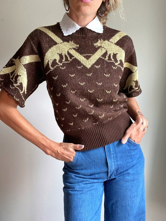 1940s Jantzen Wolf Novelty Wool Pullover Sweater
