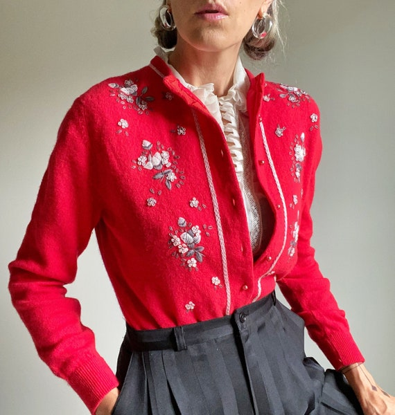 1950s Embroidered Red Wool Cardigan