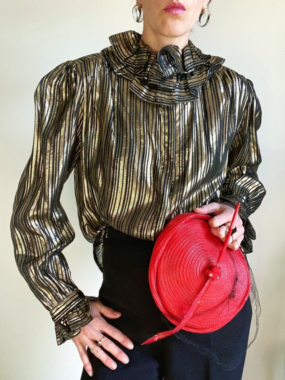 80s metallic ruffle collar blouse, size large