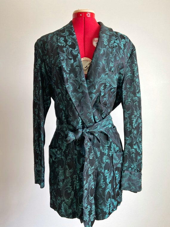 Vintage 194050s Kids/' Embroidered Peacock Rayon Loungewear Robe
