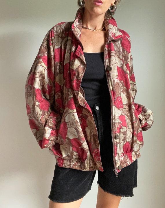 1980s Silk Autumn Leaf Print Bomber Jacket, XL