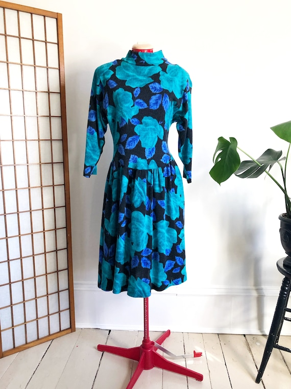 80s Floral Sweater Dress