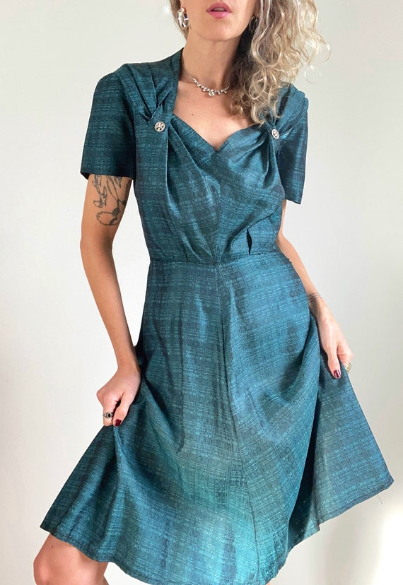 1950s Teal Sheath Dress with Sweetheart Neckline &