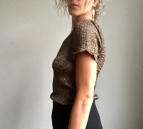 Vintage 90s micropleat top, textured summer blous… - image 6