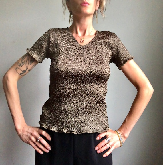 Vintage 90s micropleat top, textured summer blous… - image 7