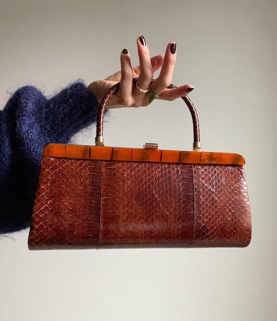 Vintage 60s Snakeskin Structured Handbag with Tige