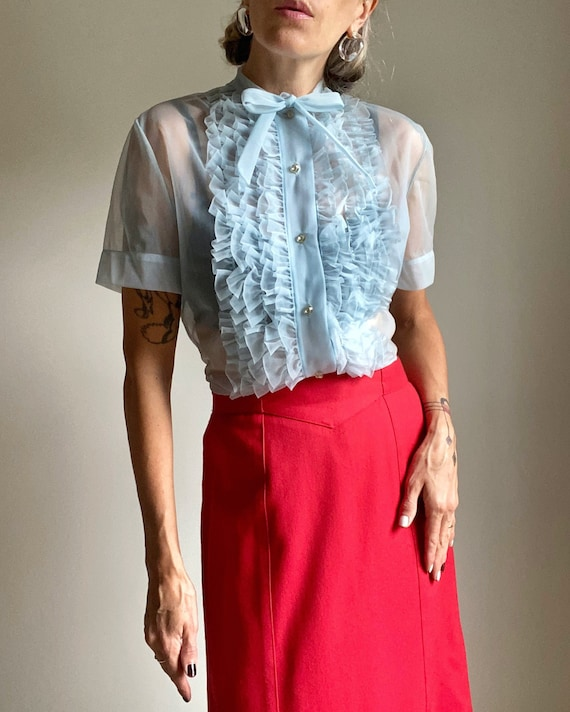 1950s Semi Sheer Tuxedo Blouse with Bow Collar