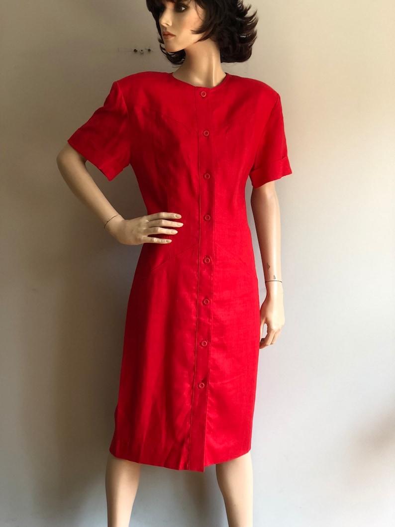 red button down linen dress size medium 80s Liz Claiborne linen red shirtdress